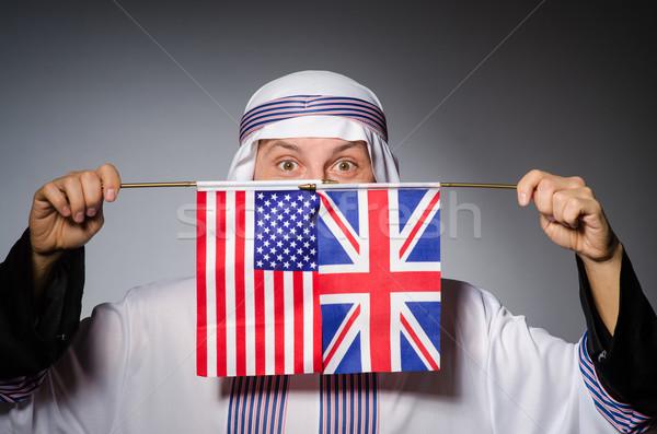 Arab man with united kingdom flag Stock photo © Elnur