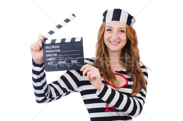 ストックフォト: 小さな · 映画 · ボード · 孤立した · 白 · 映画