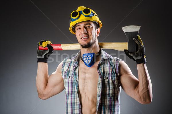 筋肉の ビルダー 男 ツール 建設 裸 ストックフォト © Elnur