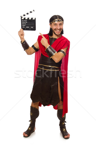 Gladiator with clapper-board isolated on white Stock photo © Elnur