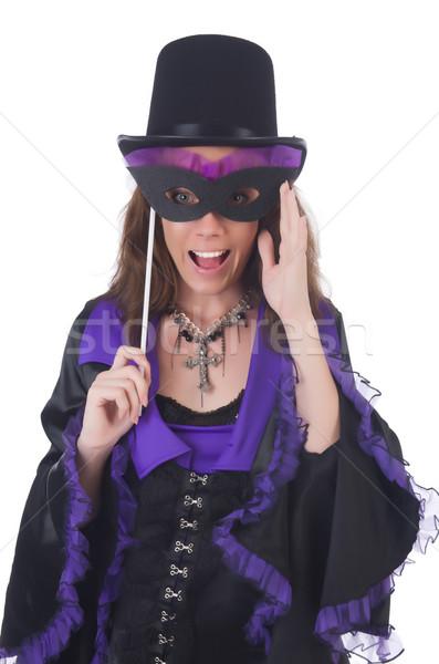 Сток-фото: девушки · фиолетовый · черное · платье · маске · изолированный