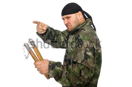 Soldier with a weapon isolated on white Stock photo © Elnur