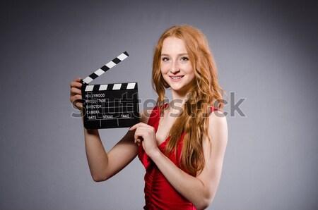 ストックフォト: 女性 · 暴力団 · 映画 · ボード · 白 · セキュリティ