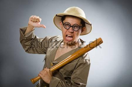 Grappig safari jager geweer man spel Stockfoto © Elnur