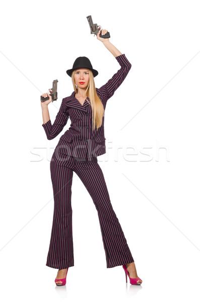 Gangster gun bianco donna sexy Foto d'archivio © Elnur
