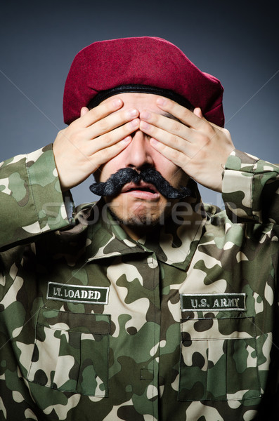 Funny żołnierz wojskowych człowiek zielone wojny Zdjęcia stock © Elnur