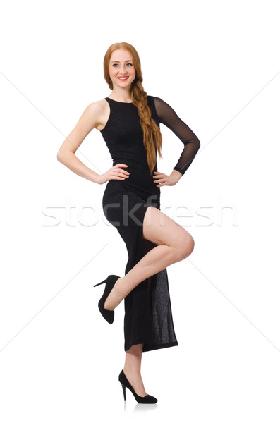 Young lady in elegant black dress isolated on white Stock photo © Elnur