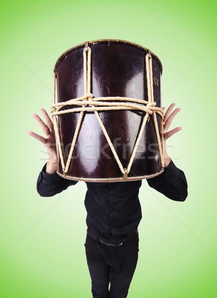 ストックフォト: 面白い · 男 · ドラム · 白 · 音楽 · 手
