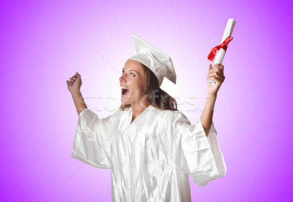 Jóvenes estudiante diploma blanco sonrisa escuela Foto stock © Elnur