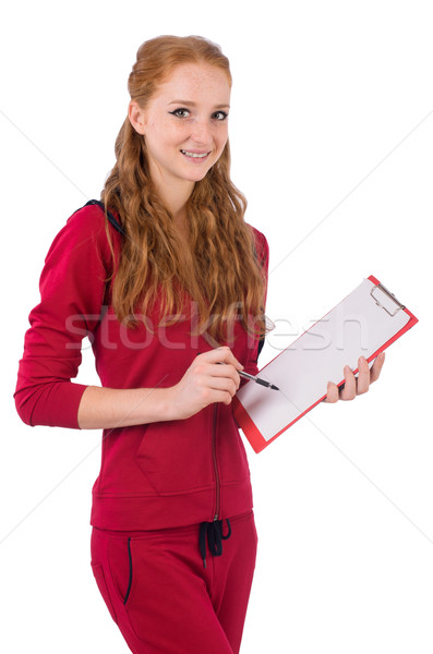Pretty young coach with organiser isolated on white Stock photo © Elnur