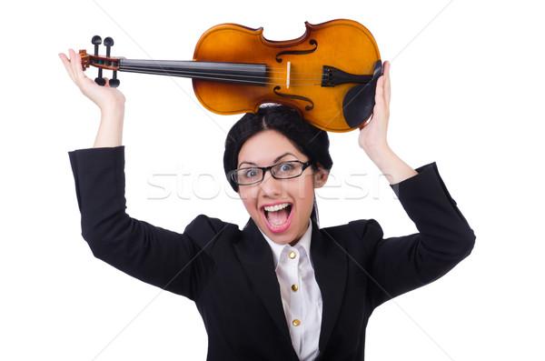 Kobieta skrzypce odizolowany biały sztuki koncertu Zdjęcia stock © Elnur