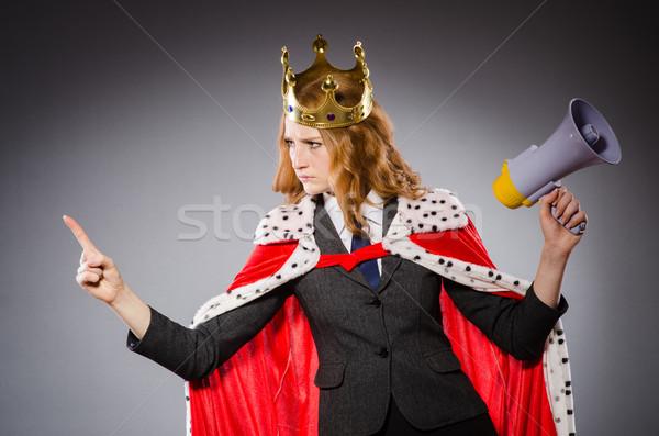 Reine affaires haut-parleur drôle femme travaux Photo stock © Elnur