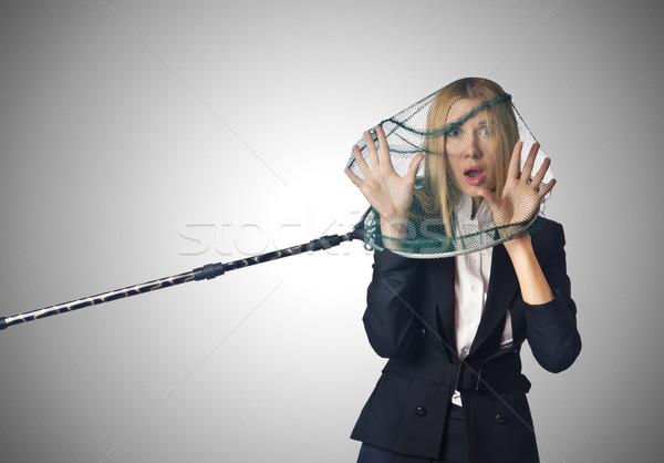 Vrouw net geïsoleerd witte business meisje Stockfoto © Elnur