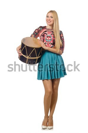 Woman with drum isolated on white Stock photo © Elnur