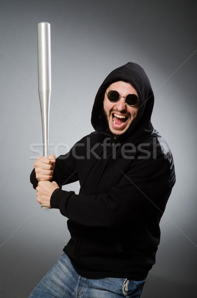 Agressief man bat gezicht achtergrond bril Stockfoto © Elnur