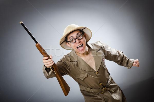 Vicces vadász vadászat férfi háttér jókedv Stock fotó © Elnur