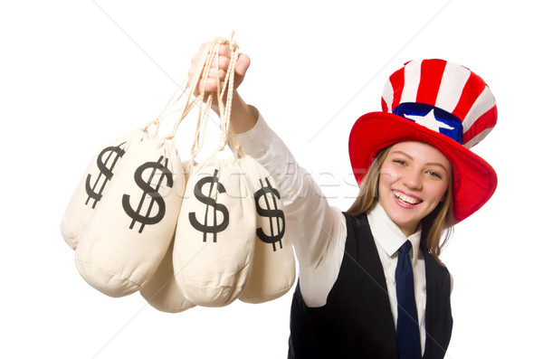 Stock photo: Woman with money sacks isolated on white