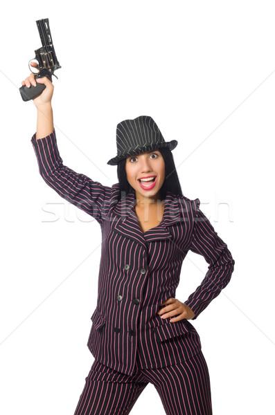 Gangster kadın tabanca yalıtılmış beyaz seksi Stok fotoğraf © Elnur