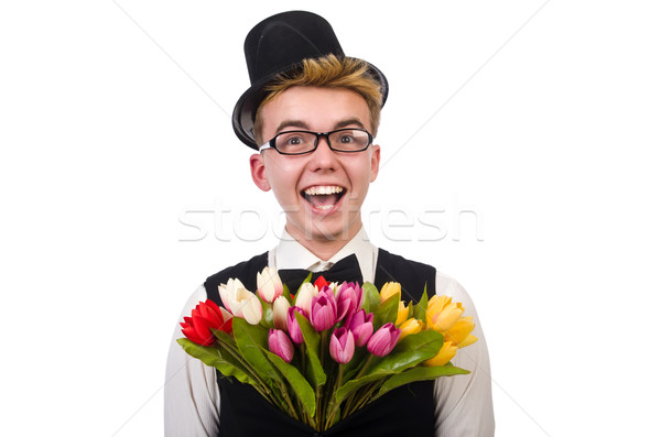 Sorridente cavalheiro flores isolado branco flor Foto stock © Elnur