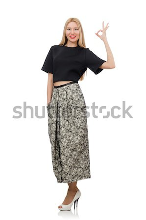 Pretty woman in long skirt isolated on white Stock photo © Elnur