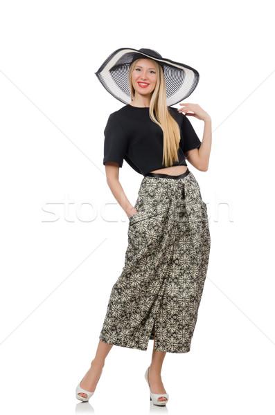 Jolie femme longtemps jupe isolé blanche fille Photo stock © Elnur