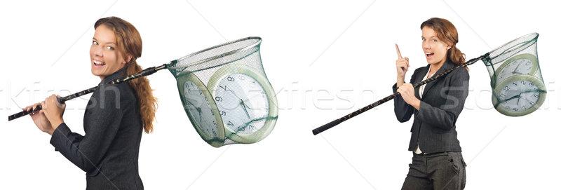 Mulher com relógio negócio menina feliz Foto stock © Elnur