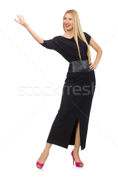 Woman in black evening dress isolated on white Stock photo © Elnur