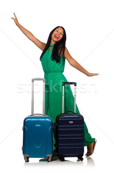 ストックフォト: 女性 · スーツケース · 孤立した · 白 · 少女 · 空港