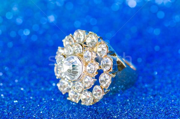 Schmuck Ring blau Hintergrund Kette Diamant Stock foto © Elnur