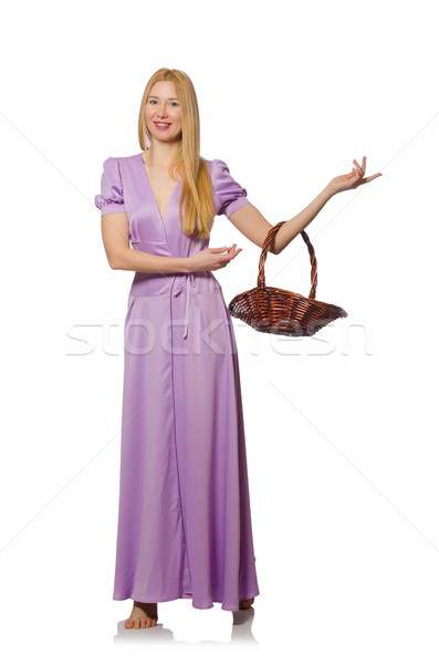 Blondie woman holding empty basket isolated on white Stock photo © Elnur