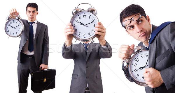 Man with clock isolated on white Stock photo © Elnur
