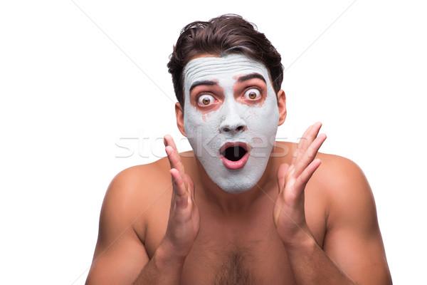 Adam çamur maske yalıtılmış beyaz adam beyaz Stok fotoğraf © Elnur