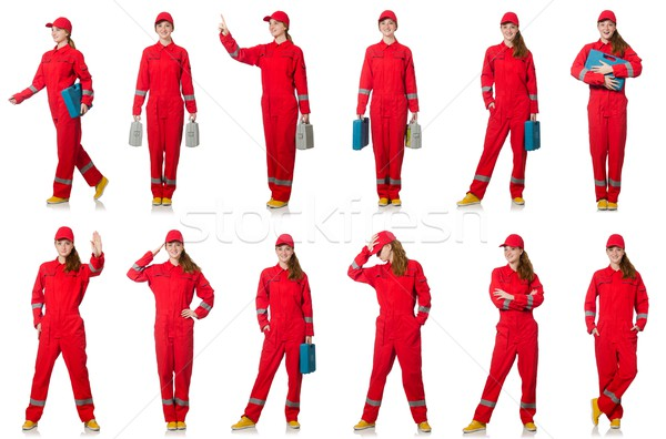 Woman in red overalls isolated on white Stock photo © Elnur
