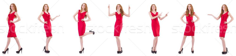 かなり 若い女の子 赤いドレス 孤立した 白 女性 ストックフォト © Elnur