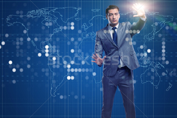 бизнесмен футуристический вычисление Мир земле сеть Сток-фото © Elnur