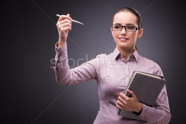 üzletasszony kisajtolás virtuális gombok üzlet iroda Stock fotó © Elnur