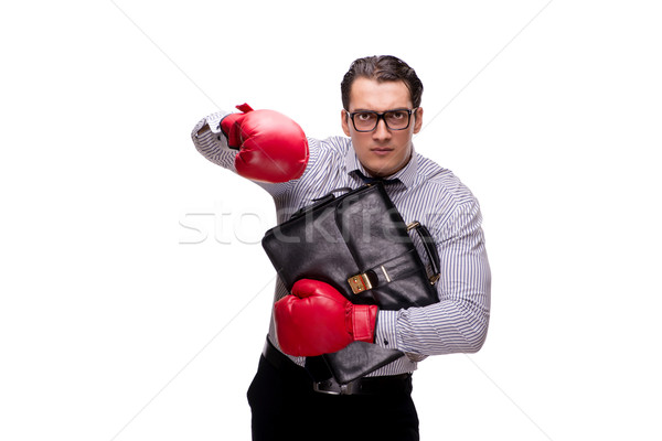 The aggressive businessman with boxing gloves isolated on white Stock photo © Elnur