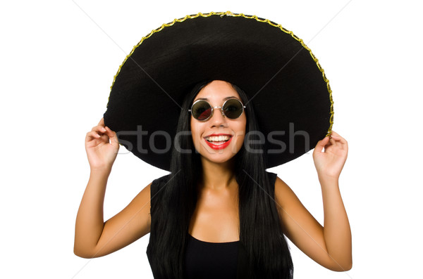 black single women in mexican hat In el jarabe tapatio dance, the women wear the traditional china poblana, which includes a fringed blouse, a long, bright-colored skirt and a shawl, the men are dressed in an ornate charro or cowboy suit along with big bows and sombreros (a wide brimmed mexican hat.