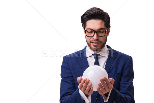 Businessman with crystall ball isolated on white background Stock photo © Elnur