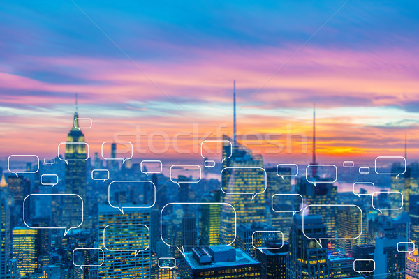 The concept of social networking with city Stock photo © Elnur