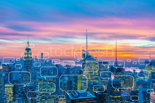 Sozialen Vernetzung Stadt Telefon Internet Gebäude Stock foto © Elnur