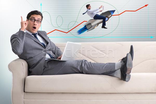 üzletember rakéta kereskedés utazás pénzügy sebesség Stock fotó © Elnur