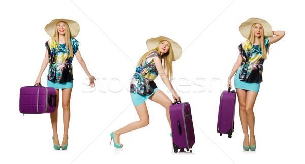 Viaggio vacanze bagaglio bianco donna spiaggia Foto d'archivio © Elnur