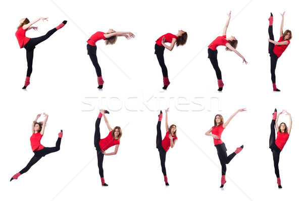 Young gymnast exercising on white Stock photo © Elnur