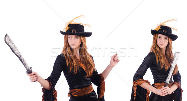 The woman pirate isolated on the white Stock photo © Elnur