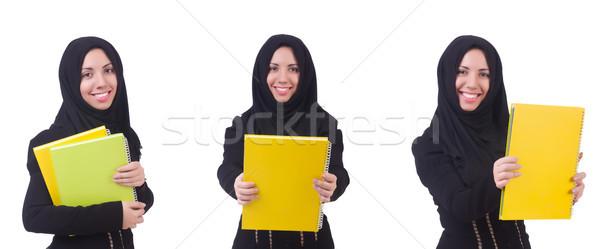 Jeunes musulmans femme isolé blanche livre Photo stock © Elnur