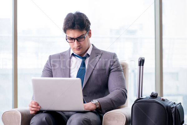 小さな ビジネスマン 空港 ビジネス ラウンジ 待って ストックフォト © Elnur