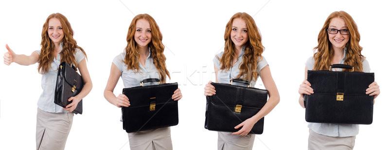 Сток-фото: довольно · молодые · сотрудник · портфель · изолированный · белый