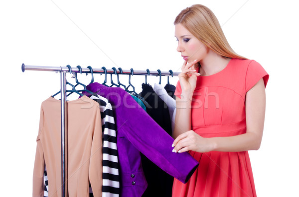 Zdjęcia stock: Kobieta · nowego · odzież · biały · uśmiech · pokój