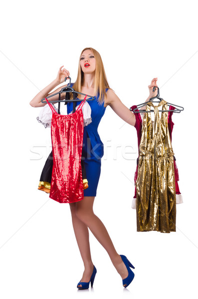Woman with clothing on hangers Stock photo © Elnur